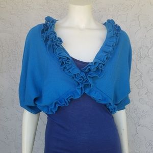Anthro Knitted & Knotted Teal Ruffled Knit Shrug